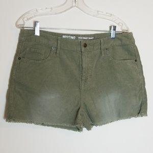 Mossimo Green Corduroy High Waist Cutoff Shorts
